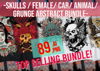 Big Bundle Grunge / Abstract / Skulls / Car / Animal/ Female / Punk / Eagles / Distorted 89 Bundle