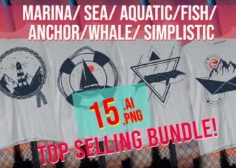 Marina / Sea/ Aquatic / Fish / Anchor / Whale / Simplistic Sea Life Sailor/ Boat/ Sail Boat AI + PNG