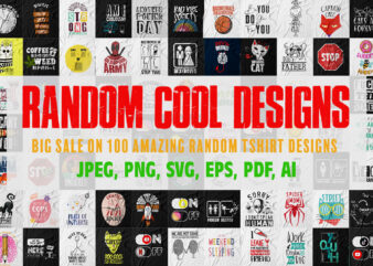 Pack of 100 cool random t-shirts design for sale.