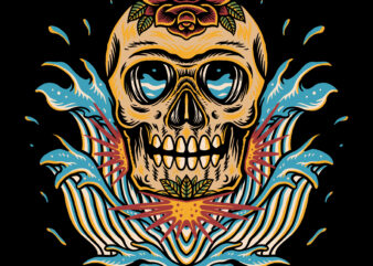 Skull and wave traditional t-shirt design