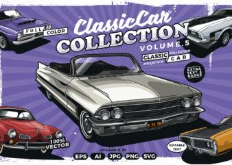 Classic car t-shirt design bundle collection vol. 5