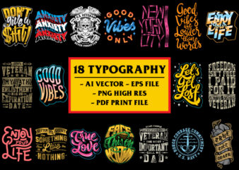 18 Best Typography Bundle / Quotes Design / Motivation Quotes / Lettering / Calligraphy