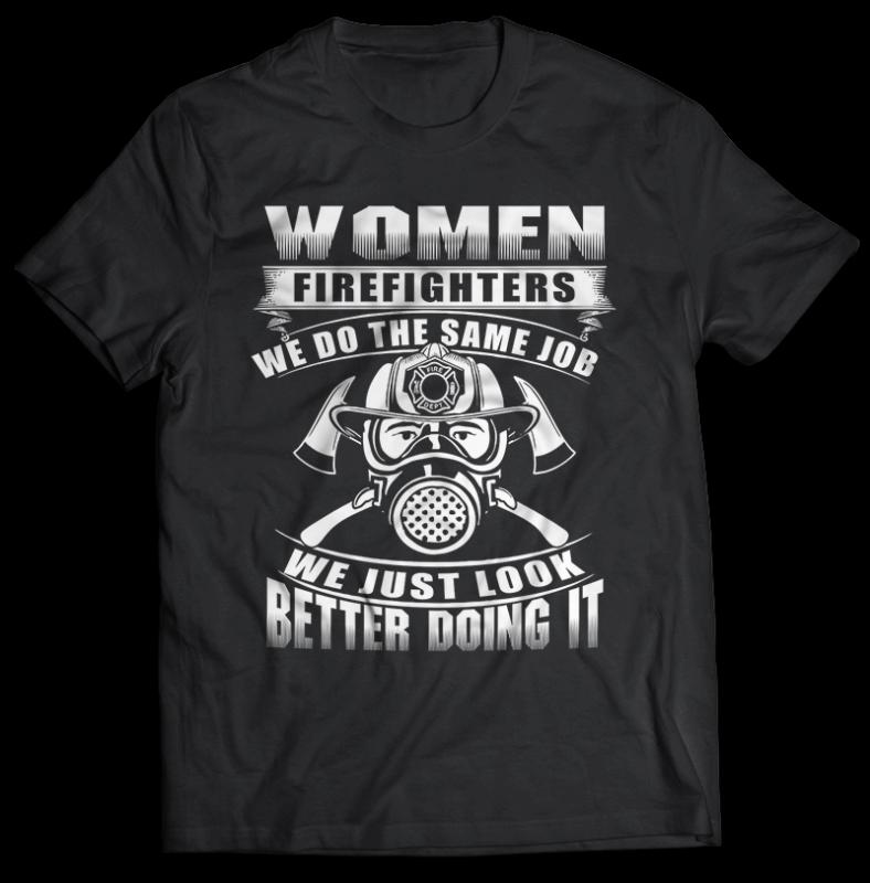 FIREFIGHTER Tshirt Designs Bundle Editable