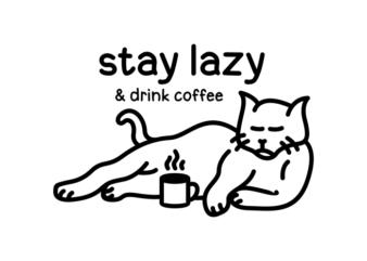 Lazy Cat Drink Coffee 1