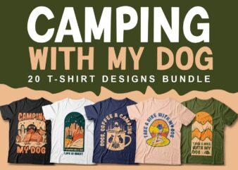 Camping with my dog t-shirt designs bundle, Adventure t-shirt design sublimation bundles, Nature, Illustration, Mountains, Hike,