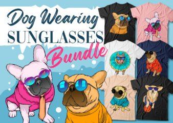 Dog wearing sunglasses t shirt designs bundle, funny dog, dog bundle, dog vector, dogs svg png,