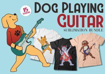 Dog playing guitar t shirt designs Sublimation bundle, Funny Dogs Svg bundle, Dog cartoon illustration