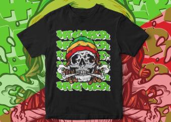 Dreadlocks, Skull, WEED, leaf, HIGHER, JOINT, SMOKING, Marijuana, Jamaican Style T-shirt design