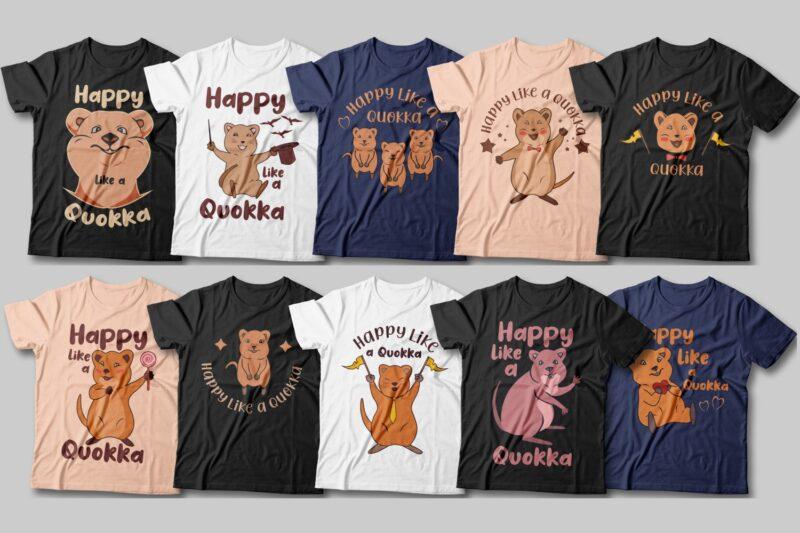 Happy like a quokka t-shirt designs bundle, Vector illustration, Quokka cartoon animal sublimation bundle, cute and funny quokka
