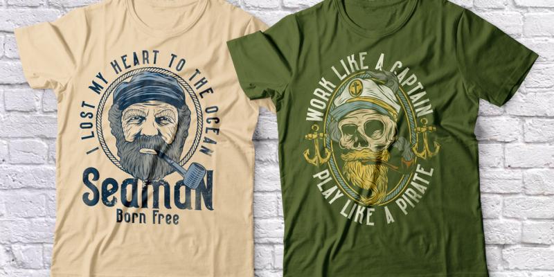 Seaman Font Family And 10 T-shirt Designs