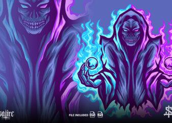 Skull Wizard Mascot Illustration