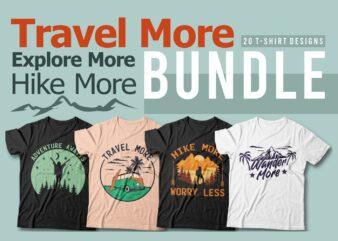 Travel t shirt designs bundle, travel more, Explore more, hike more, Travel quotes t-shirt design vector packs