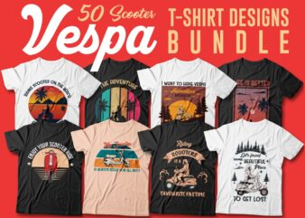 Vintage scooter vespa t shirt designs bundle vector, Riding a vespa, Editable, Motorcycle, Adventure, Rider, Bikes, Enjoy the ride