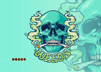 Weed Skull Joint Smoke Illustrations
