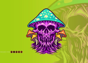 Zombie Scary Skull Magic Mushrooms