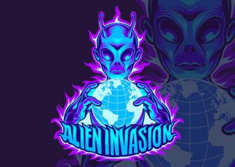 alien invasion t-sirt design