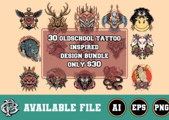 30 oldschool tattoo inspired design bundle