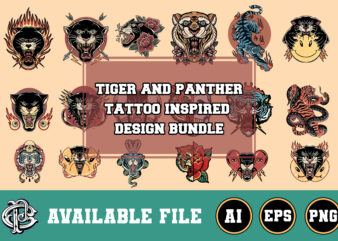 tiger and panther tattoo inspired design bundle