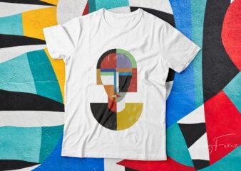 Girl face art| abstract art t-shirt design for sale.