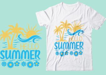 Hello Summer Svg Printable Design, Printing Easily From Downloaded Summer Illustrator Eps Vector Fil