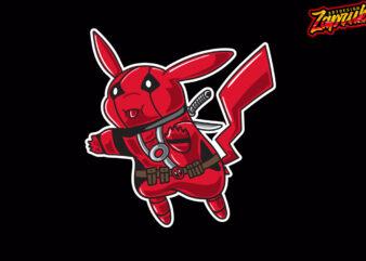 Parody Pikachu Deadpool Cartoon character style T-shirt design