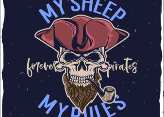 Dead pirate with a pipe t-shirt design