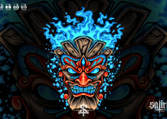 Tiki Head With Blue Fire