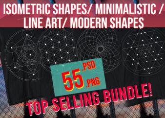 Isometric Shapes / Geometrical Shapes / Abstract Modern Shapes / Line Art/ Minimalist Shapes