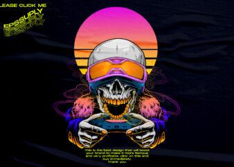 skull gamer colorful vaporwave