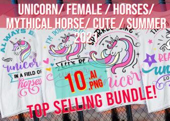 Unicorn/ Female/ Cute Pink Horse/ Mythological Horse / Summer 2021 / Pink / Best Seller Bundle t shirt vector graphic