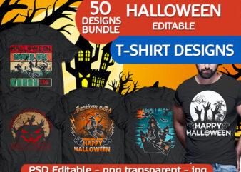 50 Halloween pumpkin boo tshirt designs bundle