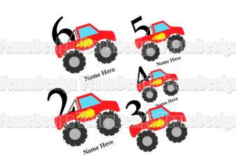 Birthday Boy Monster Truck Bundle Tshirt Design, Editable Design