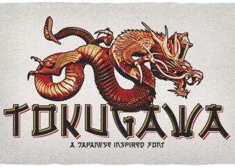 Tokugawa. Font & 10 editable t-shirt designs.