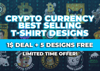 CryptoCurrency T-Shirt Bundle, Best Selling Crypto T-Shirt designs, Bitcoin T-shirts, Crypto, Ethereum T-shirt designs, When Moon When Lambo, Wolf of Crypto Street, Bullish Bitcoin, DogeCoin, DogeCoin T-shirt designs, Diamond Hands, Elon Musk Vector
