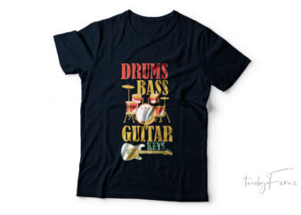 Drums beat| guitar keys| t-shirt design for sale.