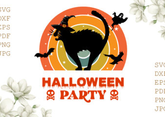 Halloween Party Cat Gifts, Shirt For Halloween Svg File Diy Crafts Svg Files For Cricut, Silhouette Sublimation Files