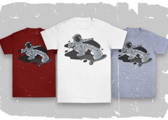 Astronaut skateboard playing space