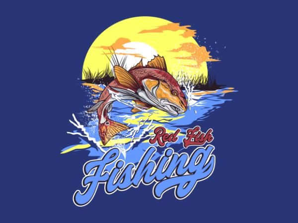 RED FISH FISHING t shirt design online