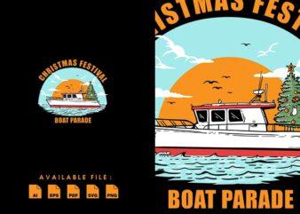 Christmas Festival Boat T-shirt Design