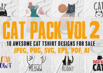 Cat pack vol 2| 10 cool cat t-shirts design for sale.
