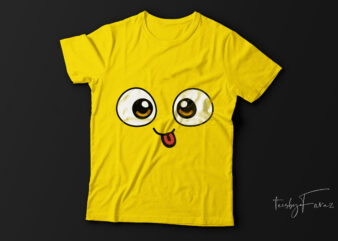 Funny face | t-shirt design for sale.
