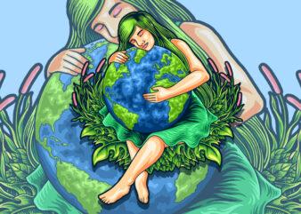 mother earth illustration t-shirt design