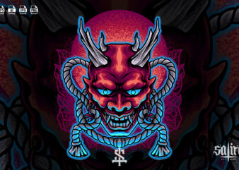 Devil Mask Japan Illustration