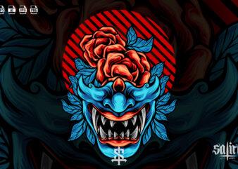 Samurai Mask Japan With Rose