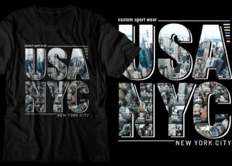 usa nyc new york city t shirt design