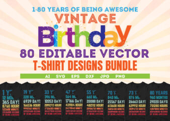 1-80 Years Of Being Awesome Vintage Birthday 80 Editable Vector T-shirt Designs Bundle, Birthday svg bundle, Birthday cutting files