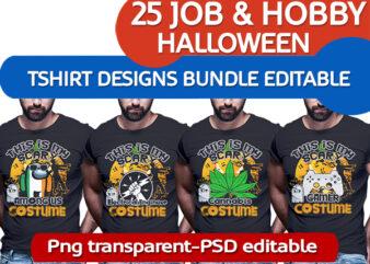 25 Halloween job and hobby bundle tshirt designs