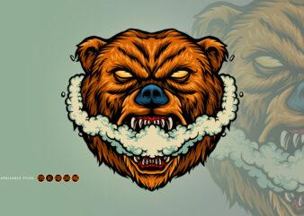 Bear Smoking Vape Grizzly Illustrations