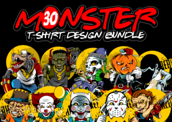 monster tshirt design bundles