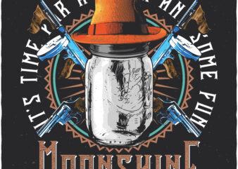 Moonshine. Editable t-shirt design.